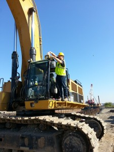 Attaching Antenna to Top of Excavator