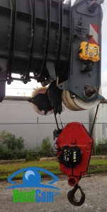 HoistCam Repeater and HC111 Attached to Hook Block on Telescopic Boom Crane