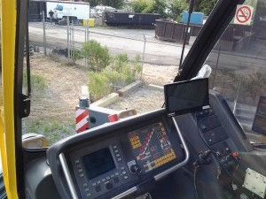 View from Operator's Cab on Telescopic Crane with the HoistCam and Repeater Installed on the Hook Block
