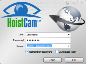HoistCam Director Client Login Screen