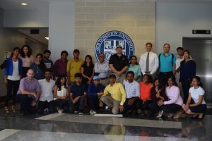 ODU Student, ODU Faculty and Netarus at the end of the Analytics Challenge