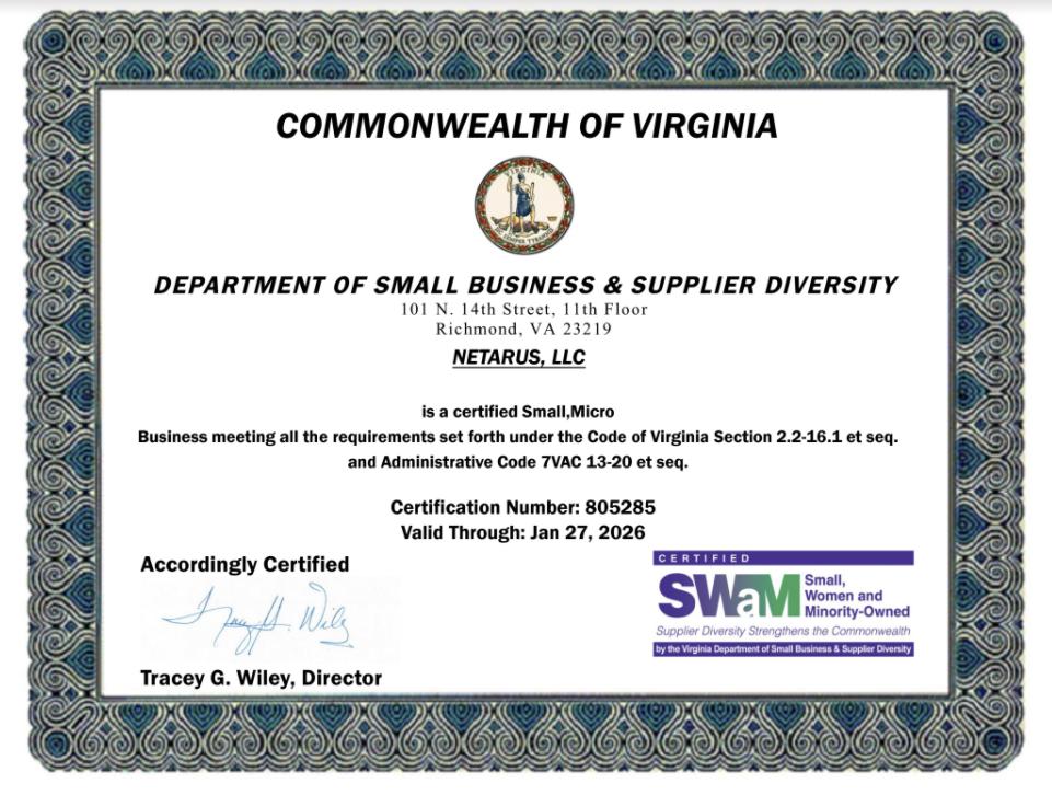 Netarus LLC SWaM Certificate - 2021
